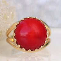 RED CORAL RING, Red Gemstone Ring, Gold Red Ring, Anniversary Ring, Real Coral ring, Women's Ring, Daily Purpose Ring,Birthstone Unique Ring