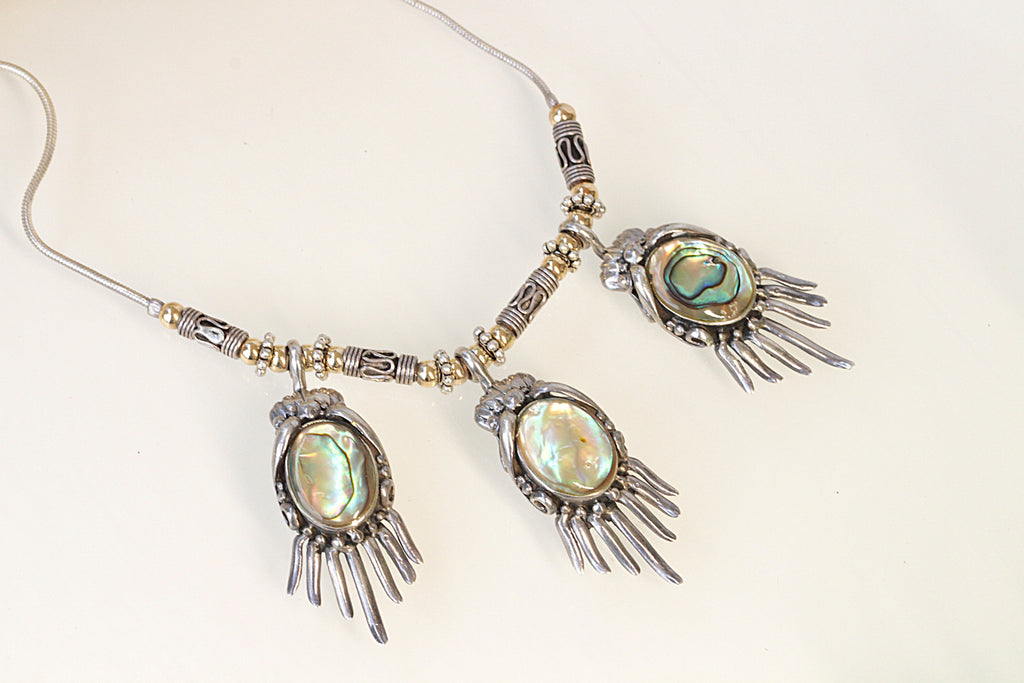 Abalone necklace, ABALONE SHELL NECKLACE, Silver Sterling 925 Necklace, Bohemian Jewelry, Seashell Necklace, Boho Jewelry, Ethnic Necklace