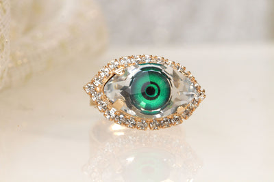 EYE RING, GREEN Eye Protection Ring,Swarovski Crystals Ring, Evil Eye Jewelry,Emerald Evil Eye Ring,Gothic Trending jewelry,Bohemian Jewelry
