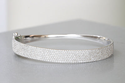 SILVER STERLING BRACELET, Crystals Bridal Bracelet, Elegant Bracelet, 925 Silver Sterling Bangle, Woman's Bracelet, Christmas Jewelry Gift