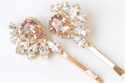 BLUSH BOBBY PINS, Bridal Bobby Pin, Wedding Pink Hair Pins, Vintage Bobby Pin, Swarovski Crystals Bobby Pin,Bridesmaids Stylish Accessories