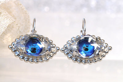 EYE EARRINGS, Evil Eye Earrings, Blue Eyes Earrings, Girlfriend Jewelry Gift, Swarovski Earrings, Cats Eye Earrings, Earrings For Jeans,