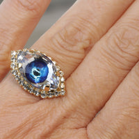 EYE RING, Blue Eye Protection Ring, Swarovski Crystals Ring, Evil Eye Jewelry,Turquoise Evil Eye Ring,Gothic Trending jewelry,Bohemian Woman