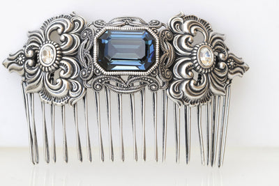 Navy Blue SILVER HAIR Comb, Filigree Hair Comb, Ethnic Hair Jewelry, Wedding Hair Comb, Antique Style Hair Comb, Dark Blue Topaz Accessories