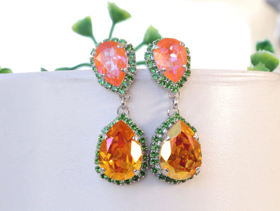 ORANGE GREEN EARRINGS, Colorful Earrings, Drop Earrings, Swarovski Earrings, Orange And Green Boho Earrings, Orange Emerald Handmade Earring