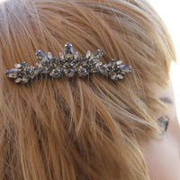 GRAY HAIR COMB,Swarovski Hair Comb, Bridal Hair Vine, Wedding Black Diamond Hair Comb, Silver Comb, Rhinestone Hair Comb, Blond Hair Jewelry
