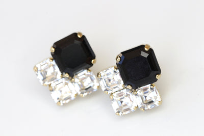 BLACK CLUSTER STUDS, Wedding Jet Crystals Earrings, Swarovski Earring, Minimalist Square Bridal Small Studs,Bridesmaids Black White Earrings