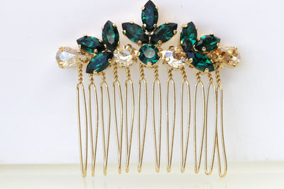 EMERALD CHAMPAGNE HAIR Comb, Bridal Hair Comb, Dark Green headpiece, Golden Shadow Swarovski, Leaf Hair Comb,Wedding Hair Jewelry,Small Comb