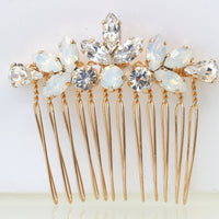OPAL HAIR Comb, Bridal Hair Comb, White Opal headpiece, Crystals of Swarovski Accessories, Leaf Hair Comb,Wedding Hair Jewelry,Small Comb