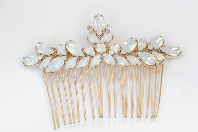 OPAL HAIR COMB,Swarovski Hair Comb, Rose Gold Hair Comb, Wedding Gift, Statement Hair care, Best Woman Accessories, White opal Hair Jewelry