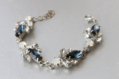 Blue Navy Bridal BRACELET, Dark Blue Opal Bracelet, Wedding Dusty Blue Bracelet,Swarovski Blue Jewelry Set,bridesmaid Bracelet Earrings Gift
