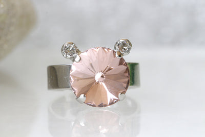 MOUSE ENGAGEMENT RING, Morganite Ring Swarovski Crystal Ring, Blush Pink Ring, Gift For Girlfriend, Unique Ring, Mickey Ring, Girls Jewelry