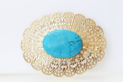 TURQUOISE GOLD BROOCH, Elegante Brooch, Lace Brooch, Large Oval Brooch, Genuine Blue Turquoise Stone Brooch, Safety Pin Brooch, Coat Brooch