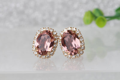 ANTIQUE PINK STUDS, Bridal Blush Earring, Bridesmaid Blush Earrings, Wedding Swarovski Clip On, Blush Stud Earrings, Vintage Blush Earrings