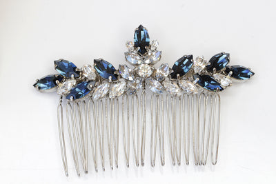 BLUE HAIR COMB,Swarovski Hair Comb, Navy Blue Hair Comb, Wedding Large Comb,Statement Hair Veil Comb, Rhinestone Hair Comb, Dusty Blue Combs