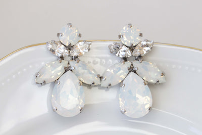 OPAL BRIDAL EARRINGS, White Opal Bridesmaid Earring, Swarovski Earrings, White Stud Earrings, Jewelry For Bride, Crystal Cluster Large Studs