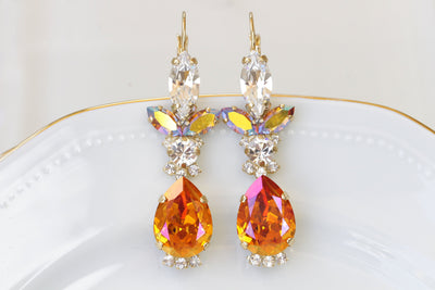 ORANGE DROP EARRINGS, Teardrop Wedding Earrings, Orange Swarovski Drop Clusters, Autumn Earrings, Set For Bride,Rose Gold Bridal Earrings