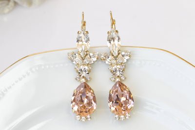 BLUSH BRIDAL EARRINGS, Blush Pink Wedding Earrings, Swarovski Earrings,Morganite Crystal Earrings,Rose Gold Earrings,Bridesmaid Drop Earring