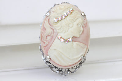 PINK CAMEO BROOCH, Scarff Cameo Brooch, Pink Rose Cameo Brooch, Lady Brooches, Oval Cameo Brooch ,Coat Brooch,Jacket Brooch, Pink Cameo Pin