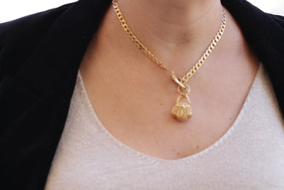 14k Gold Filled Necklace with Basket pendant, Gold Link Necklace, Gold Cocker, Gourmet Necklace, Minimalist Necklace For Woman Gift