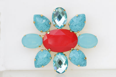 RED BLUE BROOCH, Turquoise Blue  Brooch, Vintage  Brooch, Red Coral And Blue Turquoise Brooches, Coat Brooch, Statement Pin,Large Brooch