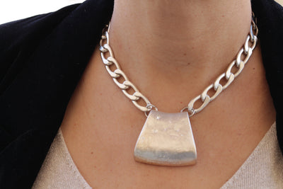 SILVER PENDANT Necklace, Thick Chain Necklace, Short Woman Necklace, Statement Necklace, Link Necklace, Silver Chunky Necklace,Silver Choker