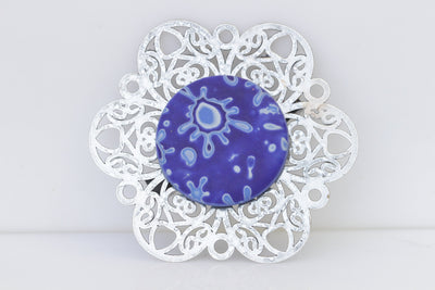 BLUE SILVER BROOCH, Flower Dresses Brooch, Clay Brooch, Royal Blue Handmade Brooch, Safety Pin ,Brooch for clothing, Fimo Brooch, Ook