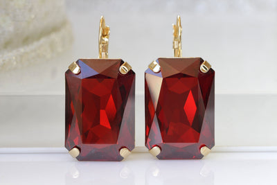 RED Crystal Earrings, Dark Red Simple Earrings, Red Magma Swarovski Earrings, Large Drop Earrings, Geometric Jewelry , Christmas Woman Gift