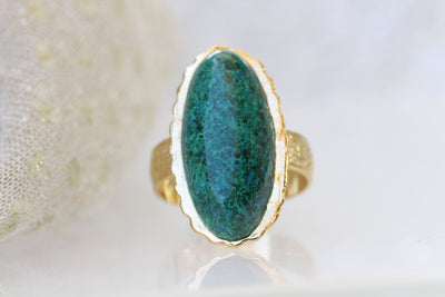 Eilat Stone Ring, King Solomon Stone Ring, Green gemstone ring, Copper Mineral Ring, Adjustable Ring, Gold ring, Cocktail ring, Oval ring