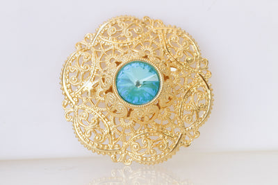 TURQUOISE GOLD BROOCH, Filigree Dresses Brooch, Elegante Brooch,Lace Brooch, Blue Gold Swarovski  clothing Brooch, ,Grandmother Vintage Gift