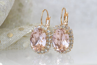 BLUSH BRIDAL EARRINGS, Morganite Crystal Jewelry, Pink Drop Earrings, Bridesmaid Earrings, Swarovski Vintage Earrings,Sparkly Dangle Earring
