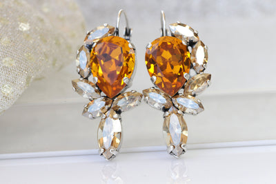 ORANGE GOLD EARRINGS,Statement Long Earrings,Woman's Earrings,Swarovski Boho Jewelry For Rustic Wedding Gift, 1980's Style Jewelry,Champagne