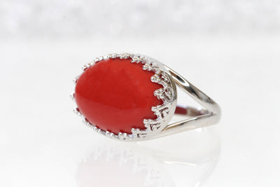 Red Gemstone Ring, Coral Silver Sterling Ring, Coral Statement Ring, Engagement Ring, Genuine Coral ring, Women's Ring, Precious Stone Ring