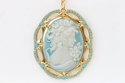 Cameo Necklace, Blue Cameo Pendant, Toggle Cameo Necklace, Lady Cameo Necklace, Victorian Style, Turquoise Cameo Necklace, Vintage Wedding