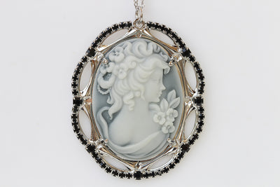 Cameo Necklace, Gray BLACK Cameo Pendant, Toggle Cameo Necklace, Statement Necklace, Antique Looking, Swarovski Cameo Necklace, Vintage Gift