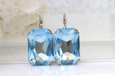 AQUAMARINE BIG EARRINGS, Crystal Earrings, Rectangle Earrings, Sky Blue Bridal Earrings Gift,Earrings Ring Set, Swarovski Light Blue Earring