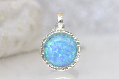 BLUE Opal necklace, Gemstone opal pendant necklace, Fire opal jewelry, Silver opal necklace, October Birthstone, Simple Necklace For Women