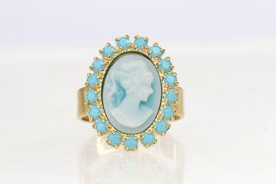BLUE CAMEO RING,  Oval Cameo Earrings, Victorian Ring,Romantic Vintage Ring, Gold Cameo Ring, Turquoise Swarovski,Christmas Woman Gift Ideas