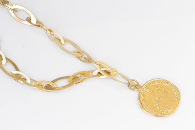 COIN NECKLACE, Greek Coin Necklace, Long Chunky Necklace, Gold Coin Necklace, Ancient Coin Style, Greek Coin Pendant,Medallion Necklace Gift