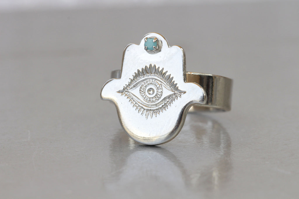 HAMSA RING, Evil Eye Ring, Turquoise Eye Ring, Hand Of Fatima Jewelry Set, Silver Hamsa Ring, Protection Ring, Christmas Gift, Custom Ring