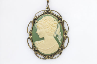 Cameo Necklace, Green Necklace, Cameo Pendant, Olive Green Jewelry, Lady Cameo Necklace, Victorian Style, Acrylic Cameo , Mother's Day Gift