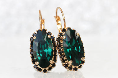 EMERALD BLACK EARRINGS, Emerald Bridal Earrings, Large Dark Green Earrings, Classic Earrings,Wedding Swarovski Statement Woman Evening, Gift