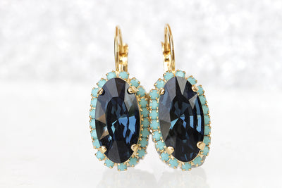 NAVY BLUE Turquoise EARRINGS, Blue Topaz Bridal Earrings, Gold Blue Earrings, Dark Blue Drop Earrings, Swarovski Woman Jewelry, Holiday Gift