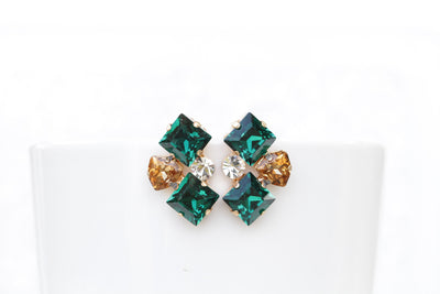 Gold EMERALD STUD EARRING, Emerald Bridal Earrings, Green Emerald Champagne Swarovski Earrings,Woman Dainty Studs,  Estate Climbing Earring,