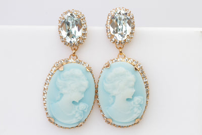 BIG CAMEO EARRINGS, Blue Turquoise Cameo Earrings, Victorian Vintage Bridal Earrings, Chandelier Ice Blue Earrings, Swarovski Earrings, Gift
