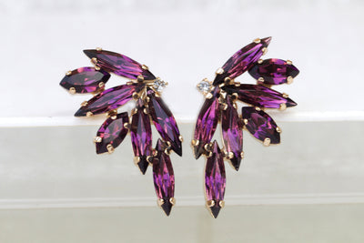 Amethyst Crystal STUD EARRINGS, Bridal Dark Purple Cluster Studs, Palm Purple Statement Studs, Woman Evening Purple Jewelry, Swarovski Bride