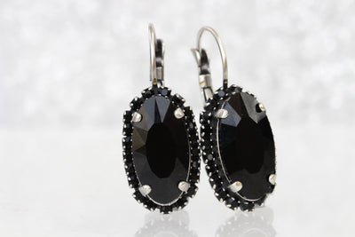 BLACK EARRINGS, Mother of The BRIDES Earrings, Black Evening Silver Earrings, Formal Drop Earrings, Swarovski Woman Earrings,Wedding Jewelry