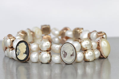 PEARL CAMEO BRACELET, Victorian Toggle Cameo Bangle, Women Gift,  Freshwater Pearl Stretch Bracelet, Antique Beaded Bracelet Cameo Bracelet