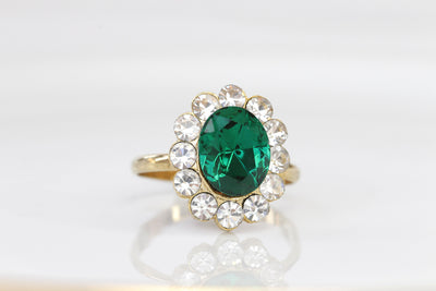 Emerald Gold Ring, Engagement Rings, Art Deco Ring, Big Zircons Ring, Pave Ring, Green Stone Ring, Princess Diana Historic Lady D inspired