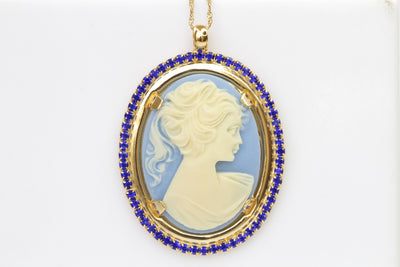SAPPHIRE CAMEO NECKLACE, Royal Blue Cameo Oval Pendant,Swarovski Necklace,Unique Vintage Necklace, Antique Style Necklace,Women Holiday Gift